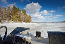 Hand Made All Terrain Vehicle, Close-up. Snow-covered Frozen Lake. Winter Rural Landscape. Karelia, Polar Circle, Russia. Transportation, Special Equipment, Dangerous Driving, Logistics, Off-road