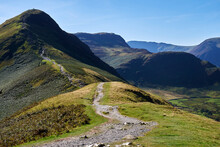 A Path Winds Up The Ridge Of Cat Bells In The English Lake District National Park On A Clear, Cloudless Summer Day