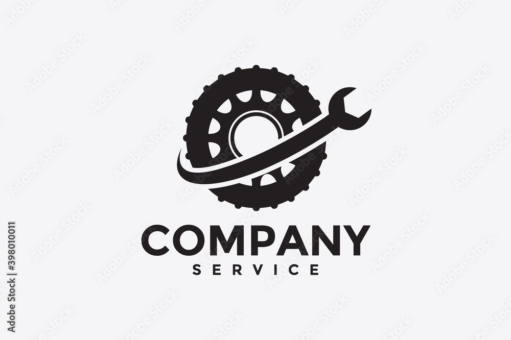 Fototapeta wheel wrench logo
