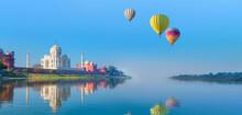 Hot Air Balloon Flying Over Taj-Mahal - Taj Mahal Mausoleum Reflected In Yamuna River - Agra, Uttar Pradesh, India