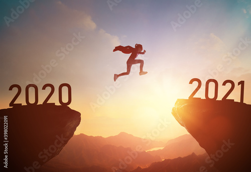 child jumping between 2020 and 2021 Fototapeta