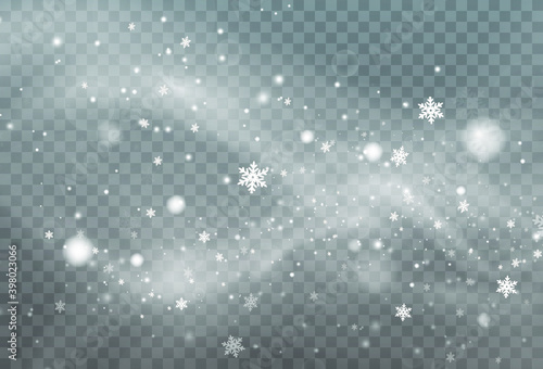 Obraz Christmas background made of falling snow blown by a strong winter wind. Isolated on transparent background. - fototapety do salonu