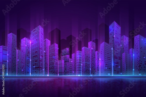 Fototapeta Futuristic city building. High neon cityscape, abstract night downtown panorama. Digital smart town, 3d modern property recent vector concept. Illustration neon building illuminated downtown obraz