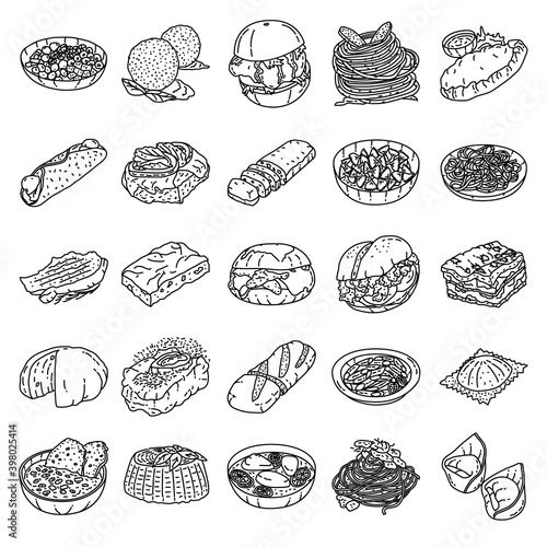 Canvas-taulu Italian Food Set Icon Vector
