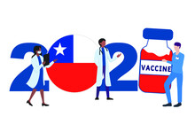 2021 Year. Covid-19 Vaccine With Chile Flag And Doctors On White Background. Chile Card On The Theme Of Fighting The COVID-19 Epidemic With The Hope Of Receiving A Vaccine By 2021