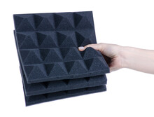 Noise Acoustic Foam In Hand On White Background Isolation
