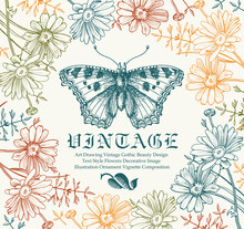 Butterflies Moth Insect Animals Realistic Flying Wedding Invitation Greeting Card Beautiful Frame Letter Flowers Chamomile Wildflowers Fauna Engraving Drawing Freehand Vintage Vector Illustration