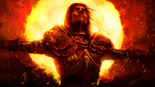 A Beautiful Young Knight Weeps Golden Tears As He Burns In The Huge Yellow Infernal Sun, Wearing A Beautiful Chased Armor With Patterns . 2D Illustration.