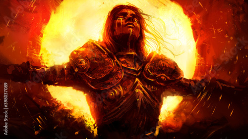 Fototapeta premium A beautiful young knight weeps Golden tears as he burns in the huge yellow infernal sun, wearing a beautiful chased armor with patterns . 2D illustration.