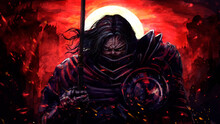A Stern Fantasy Knight In A Half-face Mask Walks With A Spear In His Hands, Against The Background Of A Bloody Sunset And Burned Castles, He Cries, Sparks Fly Around Him . 2D Illustration.