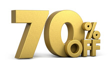Golden Text, 70% Off Isolated On White Background. Off 70 Percent. Sales Concept. 3d Illustration.
