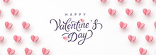 Valentine's Day Greeting Card And Romantic Paper Flying Hearts On White Background. Vector Pink Symbols Of Love With Lettering Postcard Or Banner Design