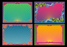 Art Nouveau Style Frame Set, Psychedelic Color Backgrounds, Cover, Poster Templates, Decorative Retro Borders