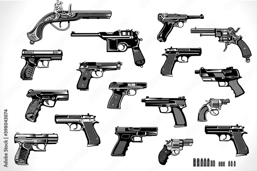 Fototapeta Modern  and old Guns: revolver and pistol