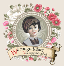 A Beautiful Little Girl, Miss. Portrait. Woman. Invitation. Round Frame Flowers. Vintage Greeting Card Blooming Realistic Flowers. Place For Text. Peonies, Chamomile, Wildflowers, Vector Illustration.