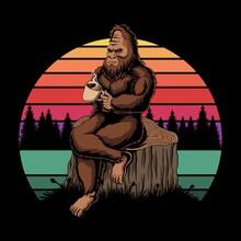 Bigfoot Relaxing Coffee Sunset Retro Vector Illustration