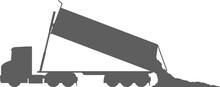 Tractor With Dump Trailer - Tractor Trailer Dump Truck - Dump - Tip-trailer (3 Axe) - Dropping Load - Tipper - Truck - Unloading - American - Monochrome - Shape - Silhouette - Icon
