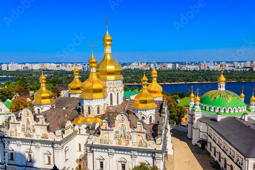 Canvas Print View of Kiev Pechersk Lavra (Kiev Monastery of the Caves) and the Dnieper river in Ukraine