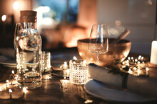 Dining Table Decorated For An Elegant Evening Dinner Party