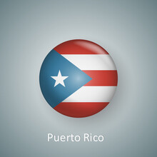 Puerto Rico Flag Icon Circle 3d Gradient Isolated
