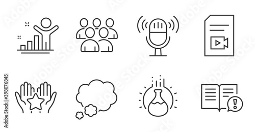 Microphone, Winner and Facts line icons set. Group, Chemistry experiment and Video file signs. Ranking, Talk bubble symbols. Mic, Best result, Important information. Education set. Vector