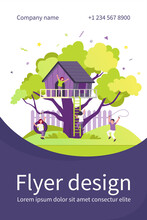 Children Playing In Playground With Treehouse. Boys And Girls Enjoying Summer Vacation, Having Fun In House On Tree. Vector Illustration For Childhood, Outdoor Activity, Kindergarten Concept