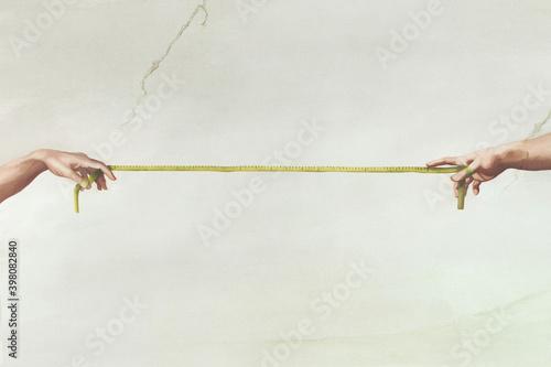 Obraz na płótnie Reaching hands from The Creation of Adam of Michelangelo illustration representi