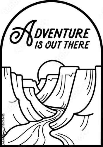 Valokuva Adventure Outdoor Canyon and River Line Art Badge