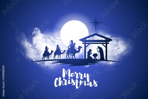 Obraz vector illustration Birth of Christ, baby Jesus reaching the Magi bear gifts, three wise kings and star of bethlehem, nativity christmas graphics design elements - fototapety do salonu