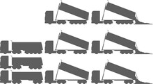 Tractor With Dump Trailer - Tractor Trailer Dump Truck - Dump - Tip-trailer - Dropping Load - Tipper - Truck - Unloading - Set - Package - Monochrome - Shape - Silhouette - Icon - European