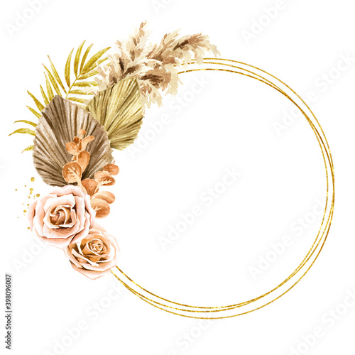 Fototapeta Golden round frame with dried plants for Wedding invitation or save the date, thank you, brochure, invite template and background. Watercolor hand drawn isolated illustration obraz