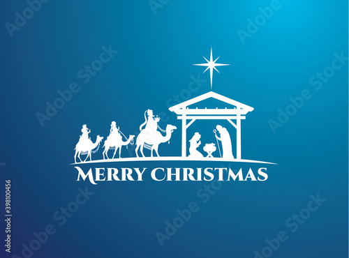 vector illustration Birth of Christ, baby Jesus reaching the Magi bear gifts, th Wallpaper Mural
