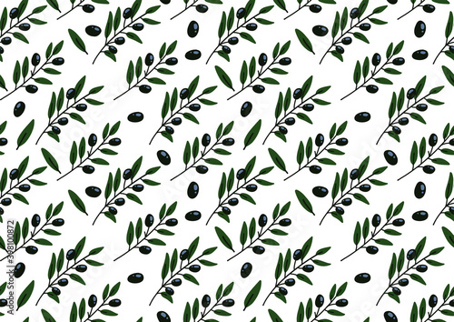 Fototapety, obrazy: Seamless pattern with olive branch. Hand-drawn floral background. Flat vector illustration.