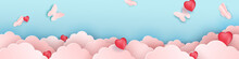 Papercut Design, Vector Paper Clouds With Butterflies. Pink Cloud, Red Hearts, Blue Background.