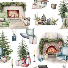 Watercolor Winter Seamless Pattern With Christmas Interior Objects. Hand Painted Holiday Items Isolated On White Background. Illustration For Design, Print, Fabric Or Background.