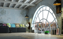 Loft Style Attic Interior Huge Arched Window