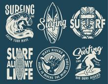 Summer Surfing Print Set With Surfer On Wave. Shaka, Tiki Mask And Surfboard. Vector T-shirt Hawaii Apparel Design