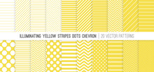 Illuminating Yellow Stripes, Polka Dots And Chevron Vector Patterns. 2021 Color Trend. 20 Pattern Tile Swatches Included.