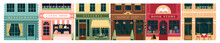 City Building Vintage Facade Vector Illustration Set. Cartoon House Exterior With Entrance Collection, Front View And Signboard Of Restaurant Candy Store Pizzeria Cafe Bookstore Barbershop Background.