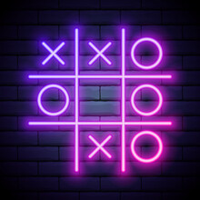 Tic Tac Toe Game, Linear Outline Icon. Colour Neon Style On Brick Wall Background. Light Icon