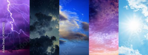 Obraz Photos of sky during different weather, collage. Banner design - fototapety do salonu
