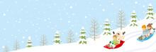 Children Sledding In The Winter Snowcoverd Slope