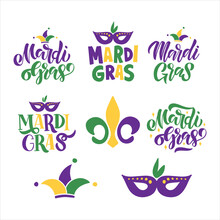Mardi Gras Traditional Carnival. Fat Tuesday Vector Illustration. Hand Drawn Lettering Set Isolated On White Background. Fleur De Lis Symbol. For Sticker, Poster, Banner, Greeting Card, T-shirt Print