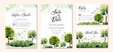 Wedding Invitation Set With Green Landscape Watercolor