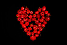 Red Hot Chilli Peppers Heart On Black Background