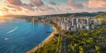 Honolulu With A Sunny And Cloudy Sky