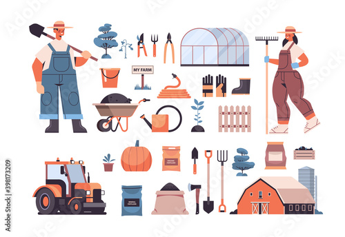 Fototapeta set garden and farm tools gardening equipment and farmers in uniform organic eco farming agriculture concept horizontal vector illustration obraz na płótnie