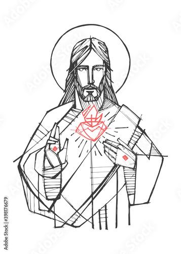 Fotografija Jesus Christ Sacred Heart illustration