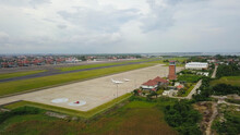 Due To Coronavirus Covid-19 Airline Fleet Parked At The Airport. Aerial Drone View Of Airplanes Parked On Airport. Aerial View Of Airplanes At The Airport Runway. Situation Due To Coronavirus Pandemic