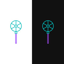 Line Lollipop Icon Isolated On White And Black Background. Food, Delicious Symbol. Colorful Outline Concept. Vector.